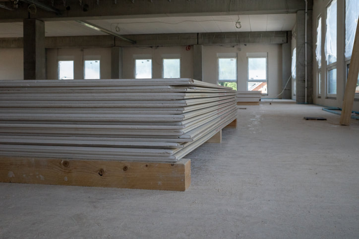 stack of gypsum board